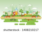 city park in summer with kid... | Shutterstock .eps vector #1408210217