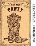 wild west party. poster... | Shutterstock .eps vector #1408214684
