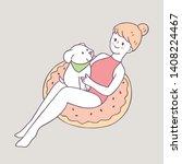 cartoon cute summer woman and... | Shutterstock .eps vector #1408224467