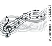 musical notes staff background... | Shutterstock . vector #140823829