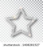 Silver Glitter Star Vector...