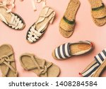 Stock photo variety of trendy woman s summer shoes flat lay of espadrilles sandals flip flops made of 1408284584