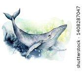 watercolor blue whale.... | Shutterstock . vector #1408287047