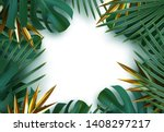 branch palm realistic. leaves... | Shutterstock .eps vector #1408297217
