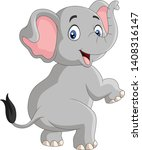 cartoon funny elephant isolated ... | Shutterstock .eps vector #1408316147
