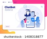 chatbot. robotics chatterbot... | Shutterstock .eps vector #1408318877