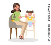 mother feed her little baby... | Shutterstock .eps vector #1408329461