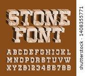 cracked stone alphabet font. 3d ... | Shutterstock .eps vector #1408355771