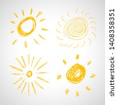 hand drawn suns. set of four... | Shutterstock .eps vector #1408358351