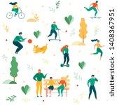 cartoon people outdoors... | Shutterstock .eps vector #1408367951