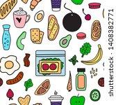 breakfast hand drawn food.... | Shutterstock .eps vector #1408382771