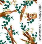 finger root tree plant seamless ... | Shutterstock . vector #1408399064