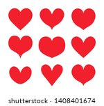 red hearts shapes set ... | Shutterstock .eps vector #1408401674