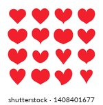red hearts shapes set ... | Shutterstock .eps vector #1408401677