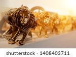 Small photo of Closeup of gold cannes lion trophy, Shoot at Cannes lions festival 2017, France