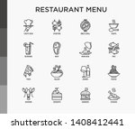 restaurant menu thin line icons ... | Shutterstock .eps vector #1408412441
