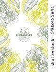pineapples and tropical leaves...   Shutterstock .eps vector #1408425641