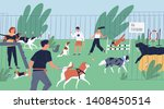 funny people playing with dogs... | Shutterstock .eps vector #1408450514