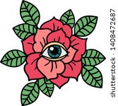 rose and eye tattoo.... | Shutterstock .eps vector #1408472687