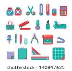 stationary set vector 3 color | Shutterstock .eps vector #140847625