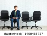 young man waiting for job... | Shutterstock . vector #1408485737