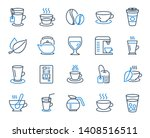 coffee and tea line icons. set... | Shutterstock .eps vector #1408516511