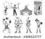 retro circus performance set... | Shutterstock . vector #1408523777