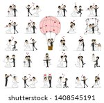 wedding doodle couple in love.... | Shutterstock .eps vector #1408545191