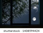 Bright Moon And Stars With...