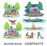summer camping scenes in flat... | Shutterstock . vector #1408596074