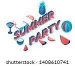 summer party 3d isometric... | Shutterstock .eps vector #1408610741