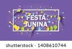 rectangle frame of festa junina ... | Shutterstock .eps vector #1408610744