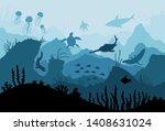 underwater ocean fauna. deep... | Shutterstock .eps vector #1408631024
