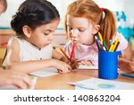 cute preschoolers drawing with... | Shutterstock . vector #140863204