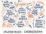 hand drawn ink summer design... | Shutterstock .eps vector #1408636544