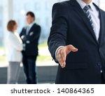 a business man with an open... | Shutterstock . vector #140864365