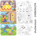 three fairy tales. cinderella.... | Shutterstock . vector #1408656194