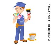 friendly painter holding ... | Shutterstock .eps vector #1408719467