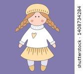 vector doll. toy  handmade ... | Shutterstock .eps vector #1408734284