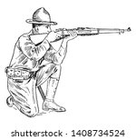 a soldier with rifle sitting on ... | Shutterstock .eps vector #1408734524