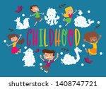 kids cloud animals pattern...   Shutterstock .eps vector #1408747721