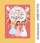bride vector bridesmaid woman... | Shutterstock .eps vector #1408747751