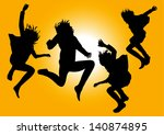 vector silhouettes af happy... | Shutterstock .eps vector #140874895