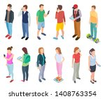 isometric young people. 3d man... | Shutterstock .eps vector #1408763354