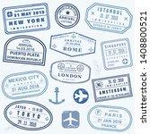 vector passport stamp set  ... | Shutterstock .eps vector #1408800521