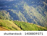small house on the mountain... | Shutterstock . vector #1408809371