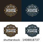vintage logo with floral... | Shutterstock .eps vector #1408818737