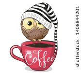 Stock vector cute cartoon owl is sitting on a cup of coffee 1408844201