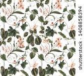 watercolor tropical exotic... | Shutterstock . vector #1408858394