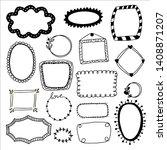 big set of hand drawn frames on ... | Shutterstock .eps vector #1408871207